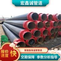 热力供暖预制地埋聚氨酯保温管道黑夹克聚氨酯发泡保温螺旋钢管